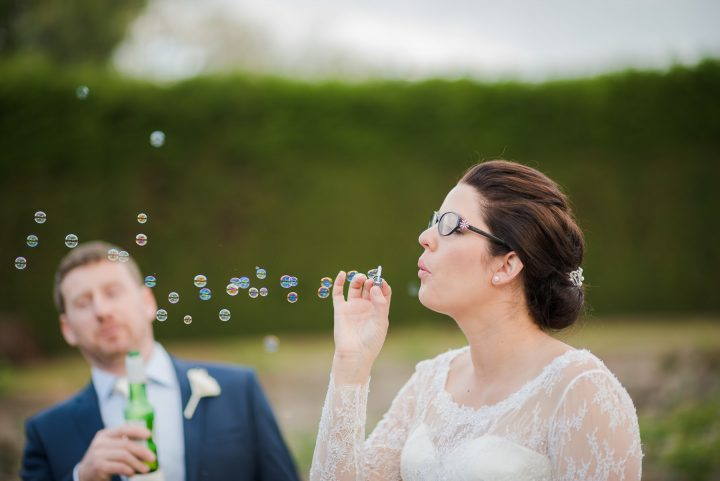 Wedding at St. Kilda Botanical Gardens blowing bubbles