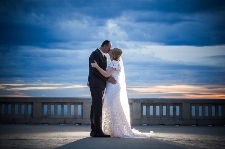 Wedding kiss at Sails on the Bay
